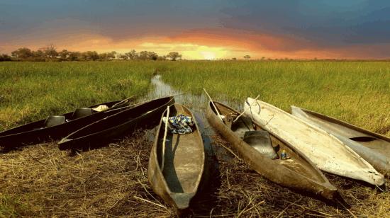 Makoro navigating the waters in Botswana Delta